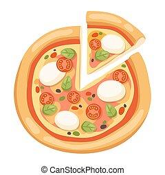 lägenhet, ikonen, isolerat, bakgrund, vit, pizza