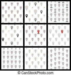 lägenhet, ikonen, mönster, sätta,  seamless, lokalisering, vektor