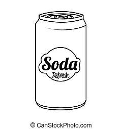 lägenhet, illustration., isolerat, vektor, kan, soda, ikon