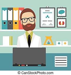 lägenhet, illustration., kontor, läkare, workplace., vektor