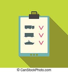 lägenhet, isometric, anteckningsbok, anteckningsblock, lista