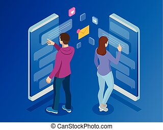 lägenhet, isometric, kvinna, service, mobil, sms, meddelanden, illustration, kort, bubbles., levande, vektor, anförande, maskinskrivning, meddelande, chat., smartphone., man