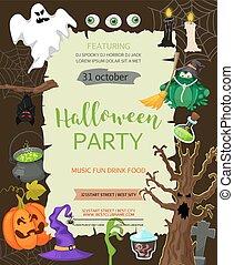 lägenhet, ivrig, eller, spöke, meny, pumpa, illustration, din, baner, invitation., vektor, design, godis, text., plats, halloween, style., template., parti