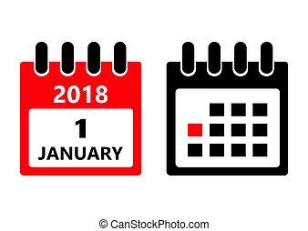 lägenhet, januari, dag, dagligen, tid, holiday., vektor, month., datera, kalender, icon., 1.