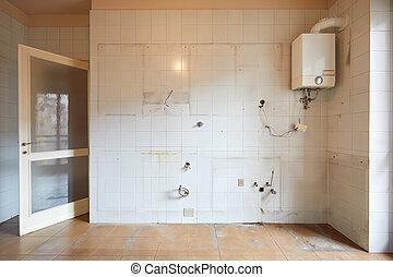 lägenhet, kök, inre, vit, vägg, tom, gammal, tegelpanna, smutsa ner