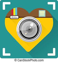 lägenhet, kamera, illustration, vektor, foto, ikon
