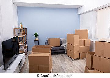 lägenhet, kartong kassera, tom