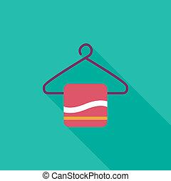lägenhet, klädgalge, handduk, länge, skugga, ikon