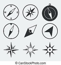 lägenhet, kompass, sätta, navigation, ikonen
