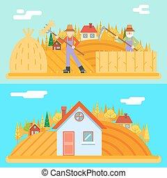 lägenhet, kullar, hö, illustration, höst, fält, bonde, vektor, design, bakgrund, by, lockespindel, skörd, landskap, ikon