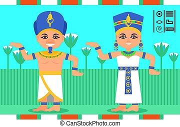 lägenhet, kvinna, egyptisk, egypten, drottning, dansande, farao, clothes., traditionell, lotus, action., vektor, bakgrund., blomningen, man