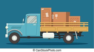 lägenhet, lastbil, lastat