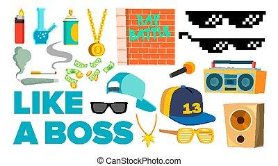 lägenhet, lik, ikonen, isolerat, gangster, chef, illustration, vector., rapper, kylig, tecknad film, singer.