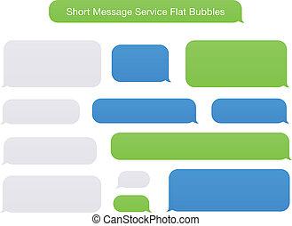 lägenhet, meddelande, kort, bubblar, service