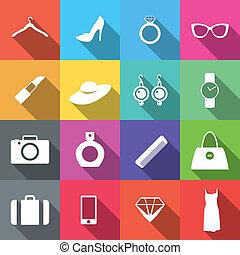lägenhet, mode, 16, ikonen, länge, skugga