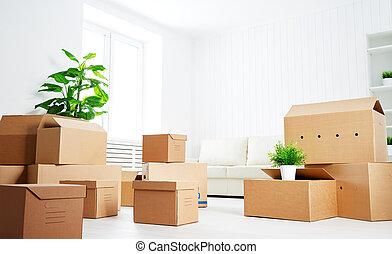 lägenhet, move., lott, rutor, färsk, papp, tom