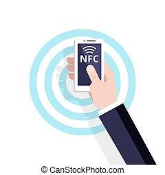 lägenhet, nfc, technology., rörligt meddelande, concept., vektor, icon., contactless, betalning, near-field