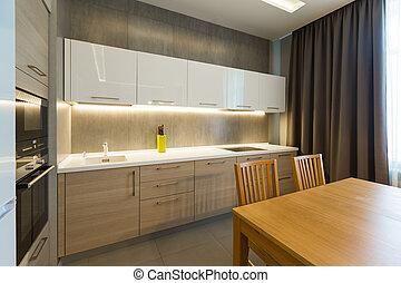 lägenhet, nymodig, lyxvara, inre, nytt hem, kök