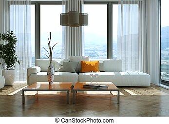 lägenhet, nymodig, sofas, lysande, design, inre