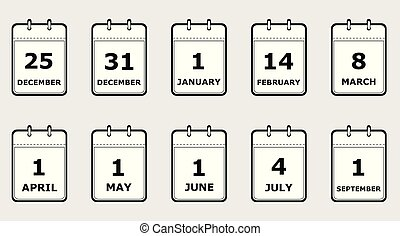 lägenhet, olik, sätta, ikonen, illustration, vektor, svart, vit, kalender, helgdag, sidor, dadeln, stil