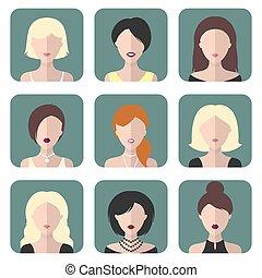 lägenhet, olik, sätta, ikonen, vektor, style., kvinnor