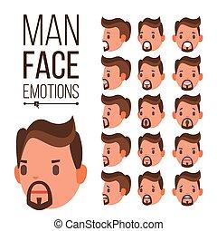 lägenhet, olik, sätta, set., isolerat, illustration, ansikte, sinnesrörelser, vector., man, emotionell, uttryck, manlig, animation., tecknad film, avatar