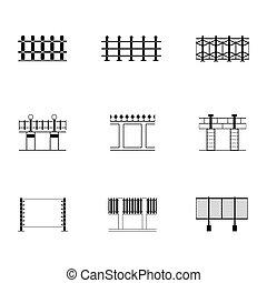 lägenhet, olik, sätta, staket, illustration, vektor, svart, vit, ikon, gräns, stil
