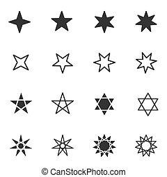 lägenhet, olik, sätta, stjärna, illustration, vektor, svart, stjärnor, vit, ikon, stil