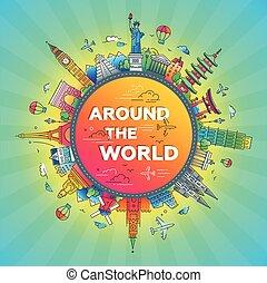 lägenhet, omkring, resa, -, design, värld, komposition