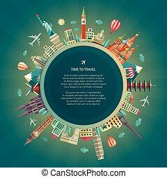 lägenhet, omkring, resa, illustration, design, värld