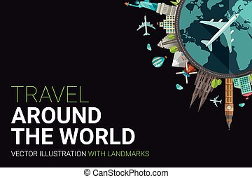 lägenhet, omkring, vykort, illustration, design, värld
