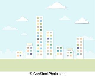 lägenhet, papper, landskap, urban