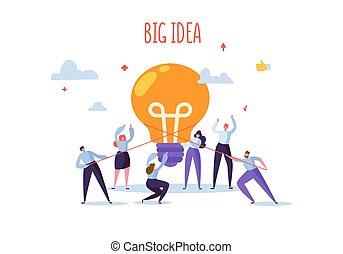lägenhet, project., arbete, affärsfolk, stor, concept., kreativitet, tillsammans, nyskapande, vektor, idea., illustration, tecken, brainstorming, färsk, ljus kula