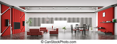 lägenhet, render, panorama, nymodig, inre, 3