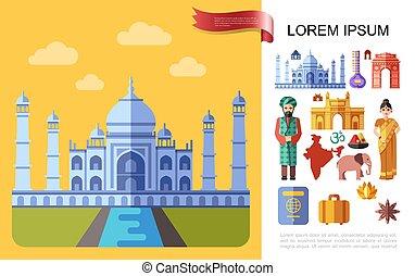 lägenhet, resa, begrepp, indien