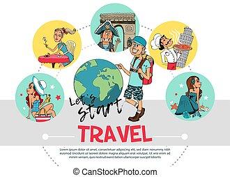 lägenhet, resa, begrepp, runda