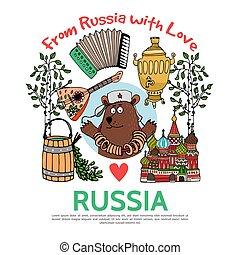 lägenhet, resa, begrepp, ryssland