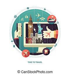 lägenhet, resa, komposition, berömd, design, värld, röja, milstolpar
