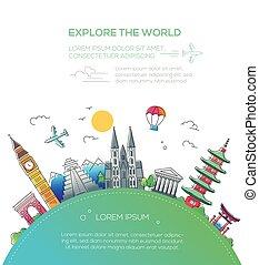 lägenhet, resa, -, utforska, design, värld, komposition
