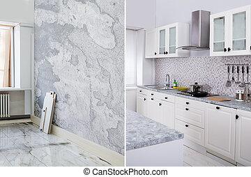 lägenhet, rum, efter, renovering, tom, kök