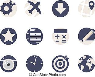 lägenhet, rundat, ikonen, mobil, applikationer, nät
