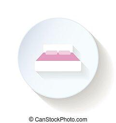 lägenhet, säng, ikon