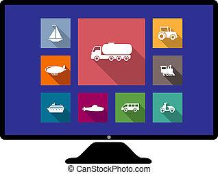 lägenhet, sätta, övervaka, transport, ikonen