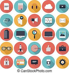 lägenhet, sätta, affärsverksamhet ikon