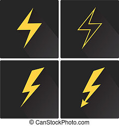 lägenhet, sätta, blixt, vektor, fyrkant, bult, ikon