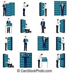 lägenhet, sätta, datacenter, ikonen