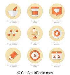 lägenhet, sätta, ikonen, färg, läkar 2, hälsa, redskapen, omsorg