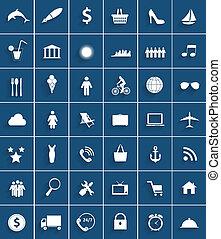lägenhet, sätta, illustration., mega, ikonen, vektor