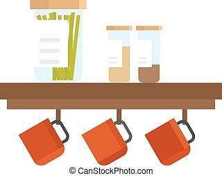 lägenhet, sätta, illustration., vektor, kock, redskapen, kök