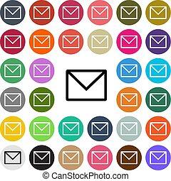 lägenhet, sätta, knapp, nymodig, vektor, design, email, ikon